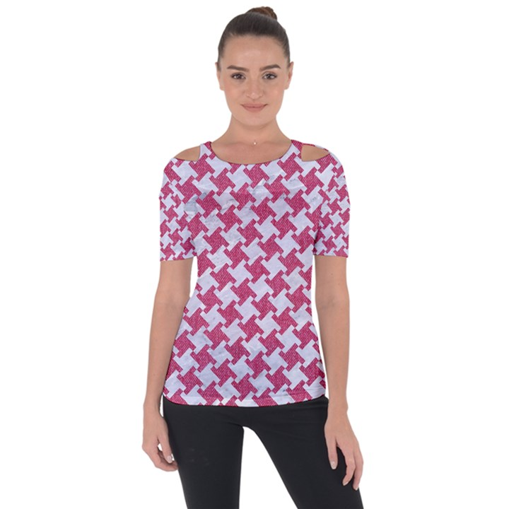 HOUNDSTOOTH2 WHITE MARBLE & PINK DENIM Short Sleeve Top