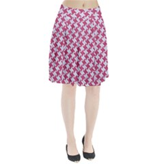 HOUNDSTOOTH2 WHITE MARBLE & PINK DENIM Pleated Skirt