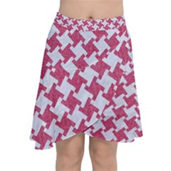 HOUNDSTOOTH2 WHITE MARBLE & PINK DENIM Chiffon Wrap