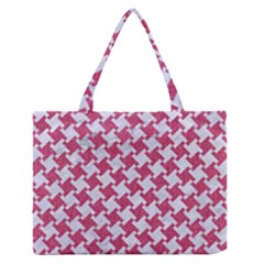 HOUNDSTOOTH2 WHITE MARBLE & PINK DENIM Zipper Medium Tote Bag