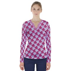 Houndstooth2 White Marble & Pink Denim V Neck Long Sleeve Top