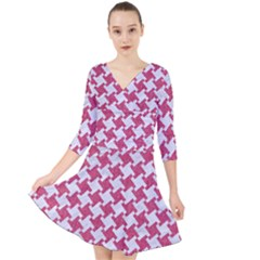 HOUNDSTOOTH2 WHITE MARBLE & PINK DENIM Quarter Sleeve Front Wrap Dress