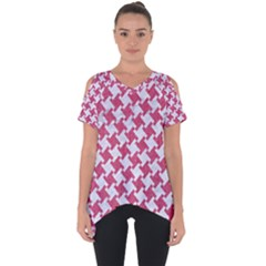HOUNDSTOOTH2 WHITE MARBLE & PINK DENIM Cut Out Side Drop Tee