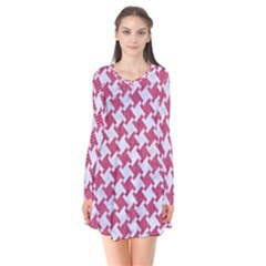 HOUNDSTOOTH2 WHITE MARBLE & PINK DENIM Flare Dress