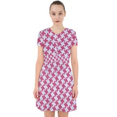 HOUNDSTOOTH2 WHITE MARBLE & PINK DENIM Adorable in Chiffon Dress
