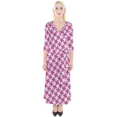 HOUNDSTOOTH2 WHITE MARBLE & PINK DENIM Quarter Sleeve Wrap Maxi Dress