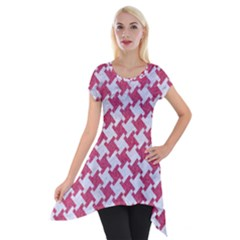 HOUNDSTOOTH2 WHITE MARBLE & PINK DENIM Short Sleeve Side Drop Tunic