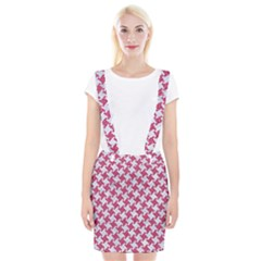 Houndstooth2 White Marble & Pink Denim Braces Suspender Skirt