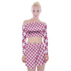 HOUNDSTOOTH2 WHITE MARBLE & PINK DENIM Off Shoulder Top with Mini Skirt Set