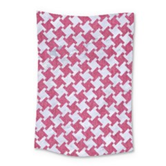 HOUNDSTOOTH2 WHITE MARBLE & PINK DENIM Small Tapestry