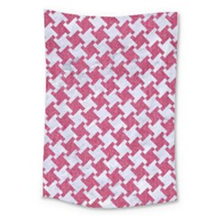 Houndstooth2 White Marble & Pink Denim Large Tapestry by trendistuff