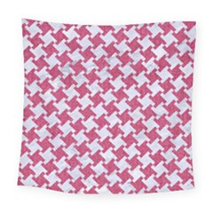 HOUNDSTOOTH2 WHITE MARBLE & PINK DENIM Square Tapestry (Large)