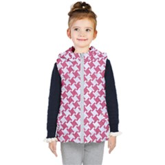 HOUNDSTOOTH2 WHITE MARBLE & PINK DENIM Kid s Hooded Puffer Vest