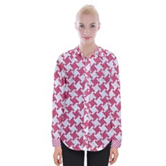Houndstooth2 White Marble & Pink Denim Womens Long Sleeve Shirt by trendistuff