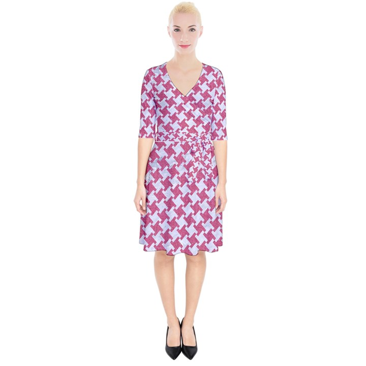HOUNDSTOOTH2 WHITE MARBLE & PINK DENIM Wrap Up Cocktail Dress