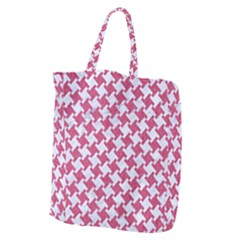 Houndstooth2 White Marble & Pink Denim Giant Grocery Zipper Tote by trendistuff