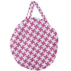Houndstooth2 White Marble & Pink Denim Giant Round Zipper Tote
