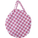 HOUNDSTOOTH2 WHITE MARBLE & PINK DENIM Giant Round Zipper Tote View2
