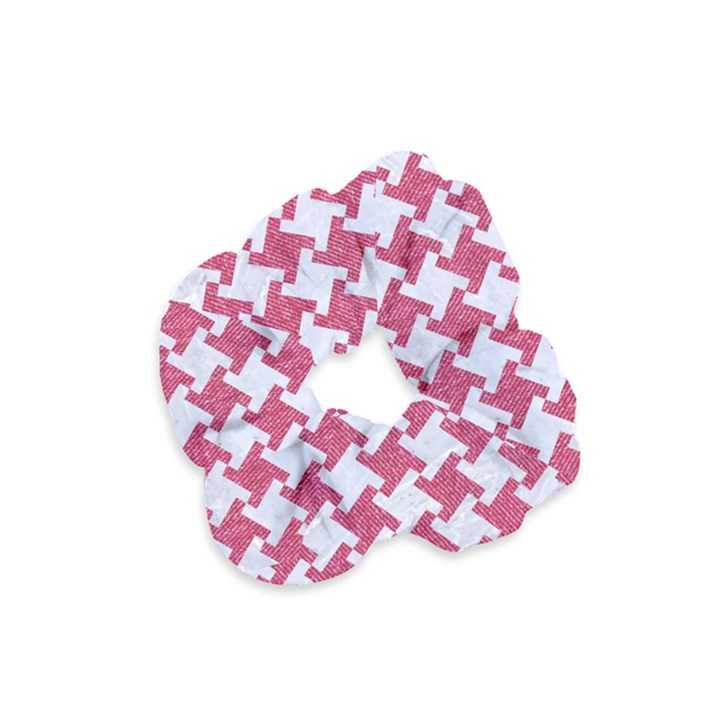 HOUNDSTOOTH2 WHITE MARBLE & PINK DENIM Velvet Scrunchie