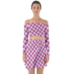 HOUNDSTOOTH2 WHITE MARBLE & PINK DENIM Off Shoulder Top with Skirt Set