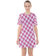 HOUNDSTOOTH2 WHITE MARBLE & PINK DENIM Sixties Short Sleeve Mini Dress