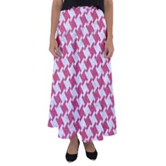 Houndstooth2 White Marble & Pink Denim Flared Maxi Skirt