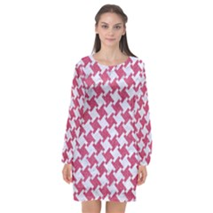 HOUNDSTOOTH2 WHITE MARBLE & PINK DENIM Long Sleeve Chiffon Shift Dress