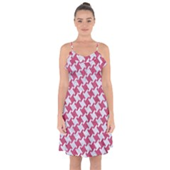 HOUNDSTOOTH2 WHITE MARBLE & PINK DENIM Ruffle Detail Chiffon Dress