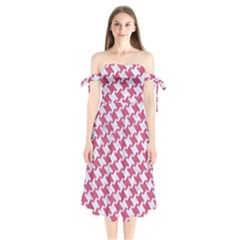 Houndstooth2 White Marble & Pink Denim Shoulder Tie Bardot Midi Dress