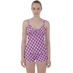 Houndstooth2 White Marble & Pink Denim Tie Front Two Piece Tankini by trendistuff