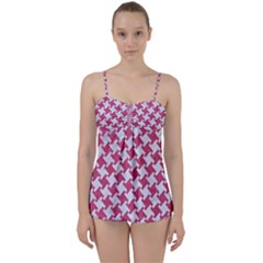 Houndstooth2 White Marble & Pink Denim Babydoll Tankini Set