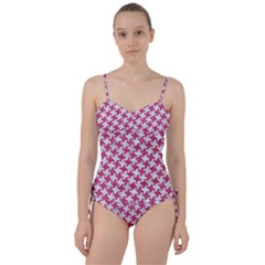 HOUNDSTOOTH2 WHITE MARBLE & PINK DENIM Sweetheart Tankini Set