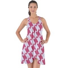 HOUNDSTOOTH2 WHITE MARBLE & PINK DENIM Show Some Back Chiffon Dress