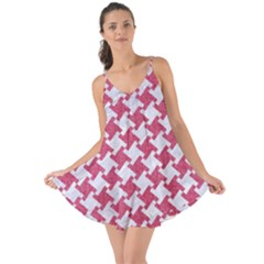 Houndstooth2 White Marble & Pink Denim Love The Sun Cover Up by trendistuff