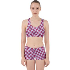 HOUNDSTOOTH2 WHITE MARBLE & PINK DENIM Work It Out Gym Set