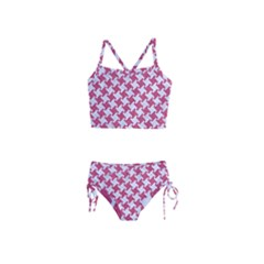 Houndstooth2 White Marble & Pink Denim Girls  Tankini Swimsuit