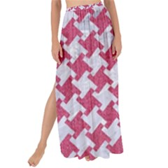 Houndstooth2 White Marble & Pink Denim Maxi Chiffon Tie Up Sarong