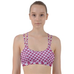 Houndstooth2 White Marble & Pink Denim Line Them Up Sports Bra