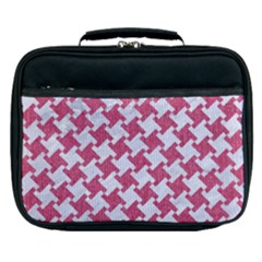 HOUNDSTOOTH2 WHITE MARBLE & PINK DENIM Lunch Bag