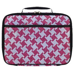 HOUNDSTOOTH2 WHITE MARBLE & PINK DENIM Full Print Lunch Bag