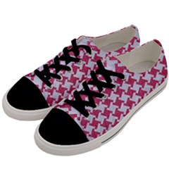 HOUNDSTOOTH2 WHITE MARBLE & PINK DENIM Men s Low Top Canvas Sneakers