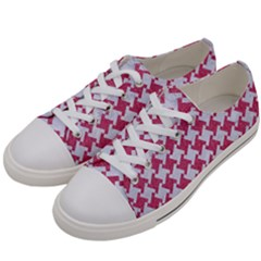 Houndstooth2 White Marble & Pink Denim Women s Low Top Canvas Sneakers by trendistuff
