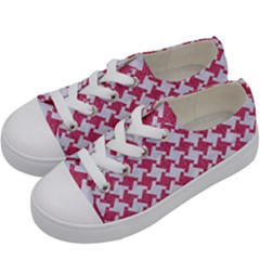 HOUNDSTOOTH2 WHITE MARBLE & PINK DENIM Kids  Low Top Canvas Sneakers