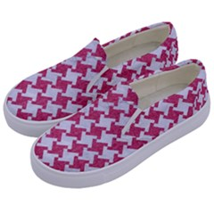 HOUNDSTOOTH2 WHITE MARBLE & PINK DENIM Kids  Canvas Slip Ons
