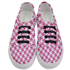 Houndstooth2 White Marble & Pink Denim Women s Classic Low Top Sneakers