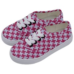 HOUNDSTOOTH2 WHITE MARBLE & PINK DENIM Kids  Classic Low Top Sneakers