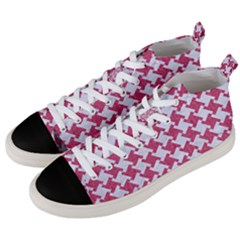 HOUNDSTOOTH2 WHITE MARBLE & PINK DENIM Men s Mid-Top Canvas Sneakers