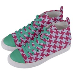 HOUNDSTOOTH2 WHITE MARBLE & PINK DENIM Women s Mid-Top Canvas Sneakers