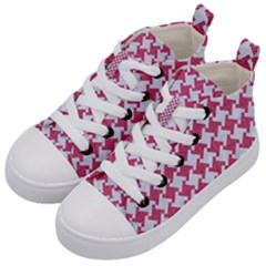 HOUNDSTOOTH2 WHITE MARBLE & PINK DENIM Kid s Mid-Top Canvas Sneakers