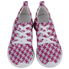 Houndstooth2 White Marble & Pink Denim Women s Lightweight Sports Shoes